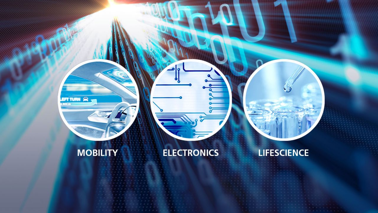 AGC Group's three categories of mobility, electronics, life scie
